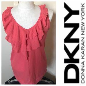 DKNY coral sleeveless ruffled blouse.  Size medium